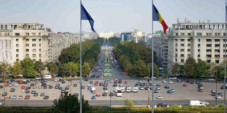 Background image of Bucharest