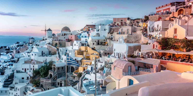 Background image of Santorini